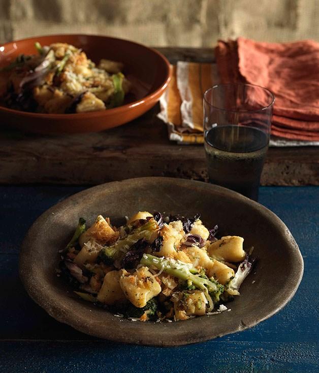 Potato and ricotta gnocchi with broccoli, radicchio and pangrattato