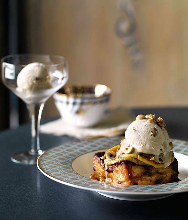 **Toffee apples, pain perdu and hazelnut ice-cream**