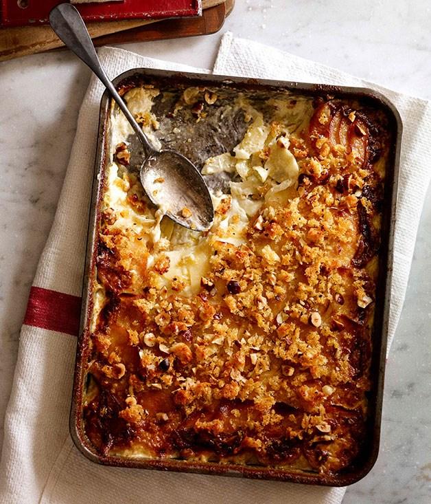 Potato, witlof and Münster gratin
