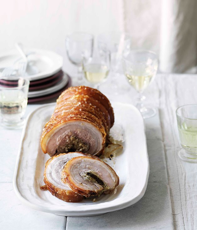 Rolled pork belly stuffed with Calvados prunes