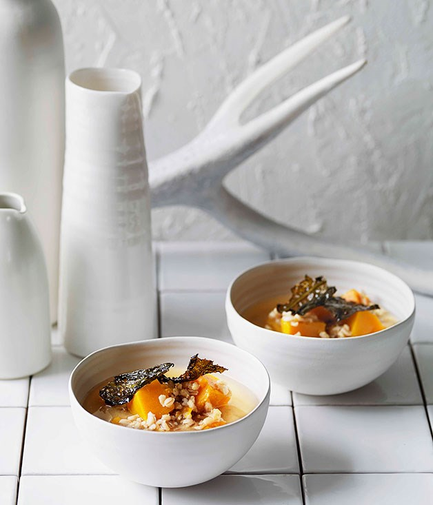 Pumpkin, barley and miso soup with fried wakame