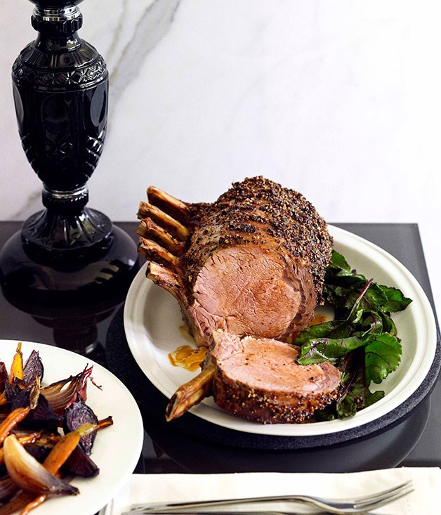Pepper-crusted beef rib with beetroot and wilted beetroot greens