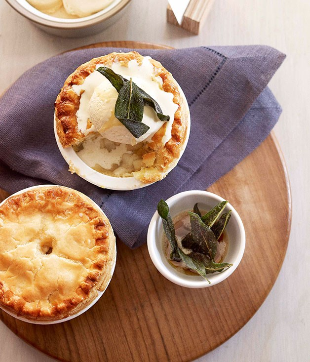 Deep-dish apple, pear and vanilla pies with crisp sage and brown butter ice-cream