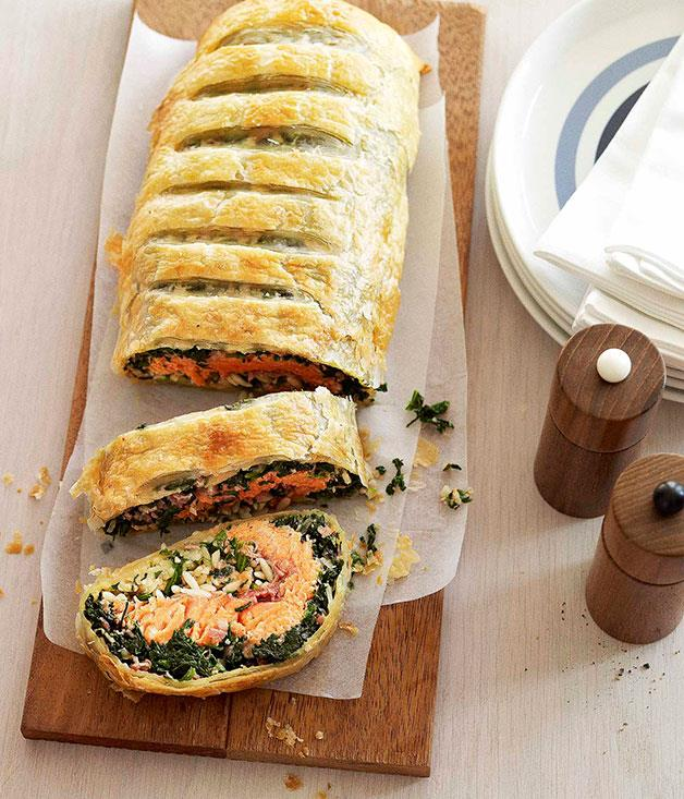 """**[Spinach, ocean trout and risoni pie](https://www.gourmettraveller.com.au/recipes/browse-all/spinach-ocean-trout-and-risoni-pie-10473