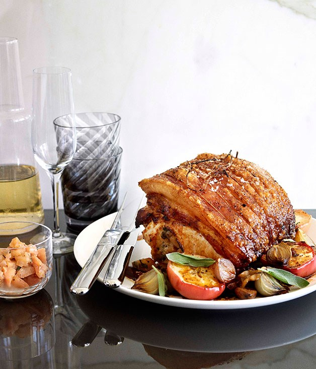 Rolled roast pork loin with apple and chestnuts