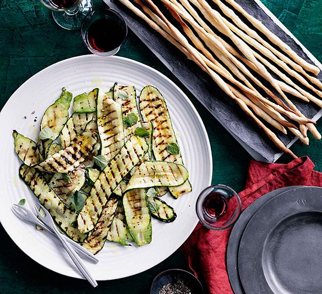 Fennel seed grissini with grilled zucchini