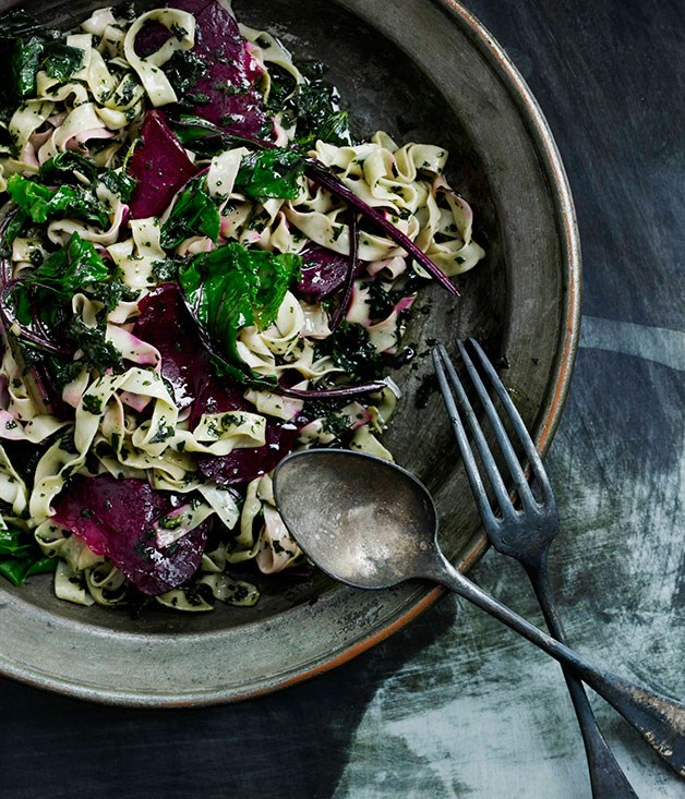 Fettuccine with beetroot and nettle butter