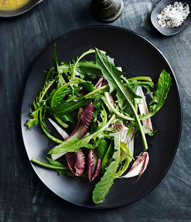 Chicory salad with anchovy dressing (puntarelle)