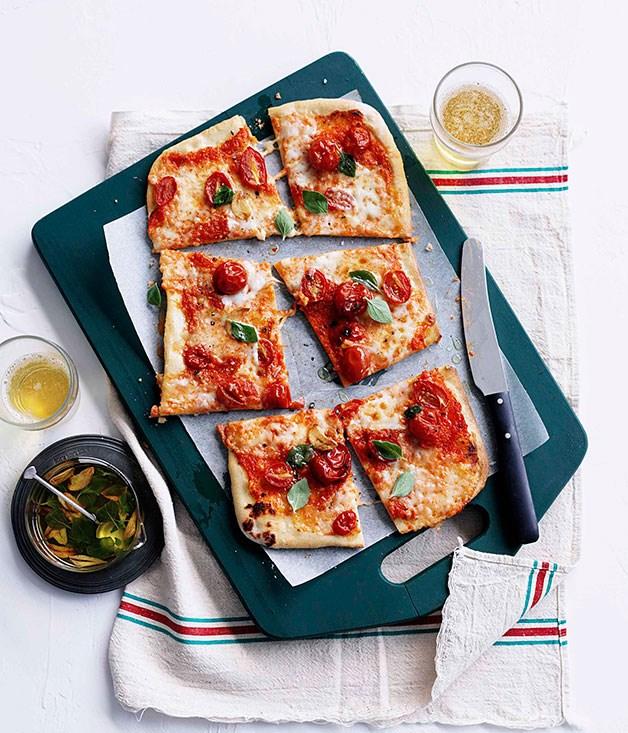 Salami and mozzarella pizza a taglio