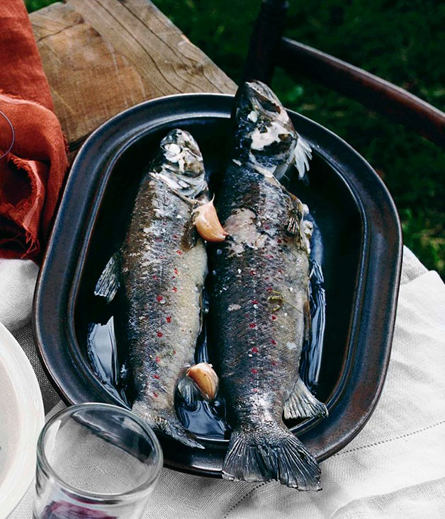 River trout poached in cider