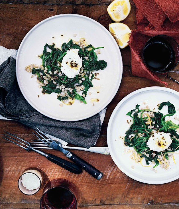 Spinach and pearl barley salad with goat's curd and spiced oil