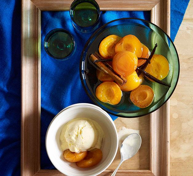 Apricots in vanilla-brandy syrup