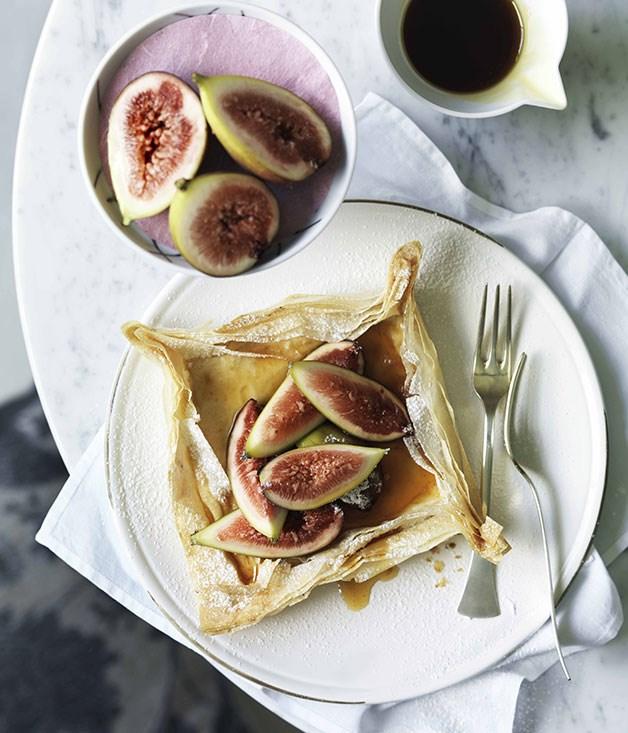 Fig, goat's curd and honey filo tartlets