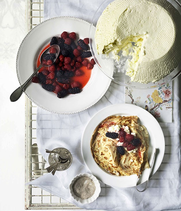 Crespelle with ricotta, berries, lemon and sugar