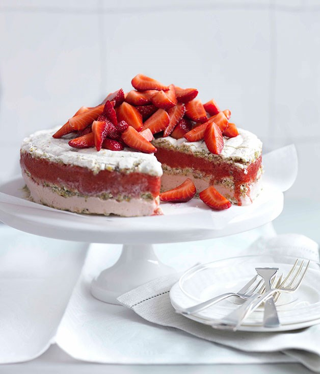 Frozen strawberry and moscato vacherin