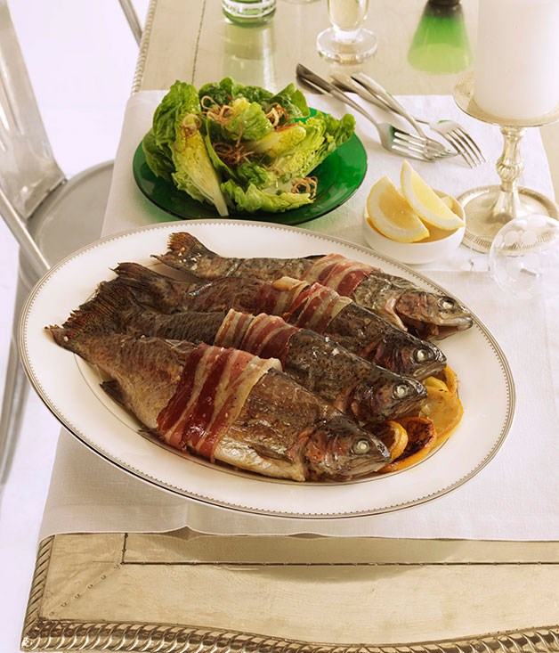 Roast rainbow trout with fennel, lemon and pancetta