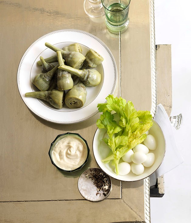 Walnut and lemon aïoli with artichokes and quail eggs