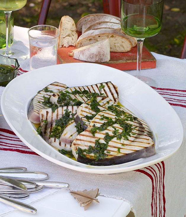 Barbecued swordfish with salmoriglio