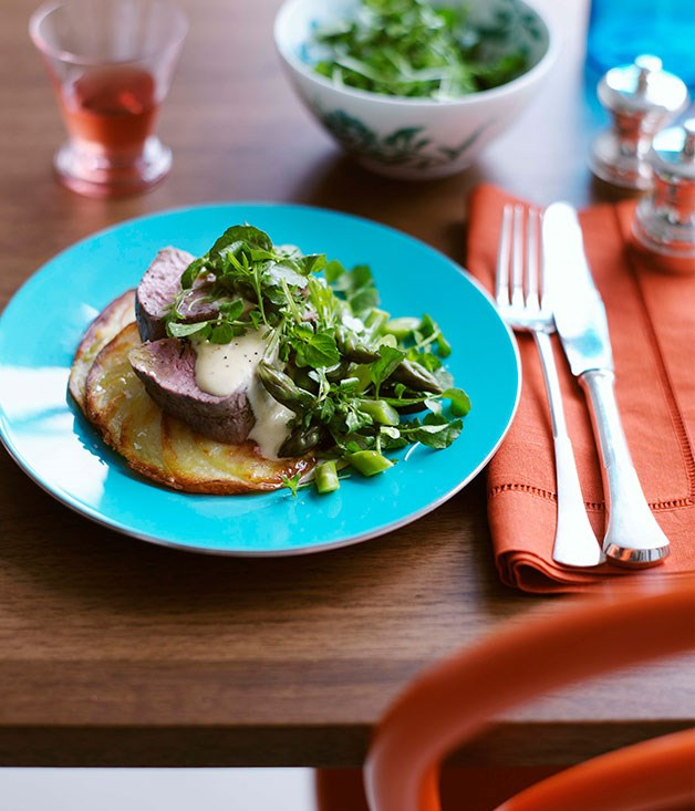 Asparagus and watercress salad (shown with roast veal fillet)