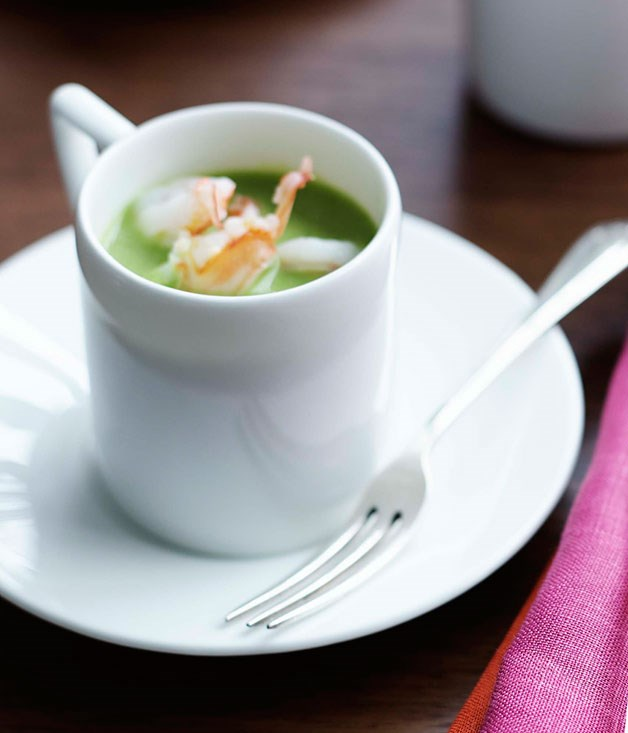Chilled pea and mint soup with poached prawns