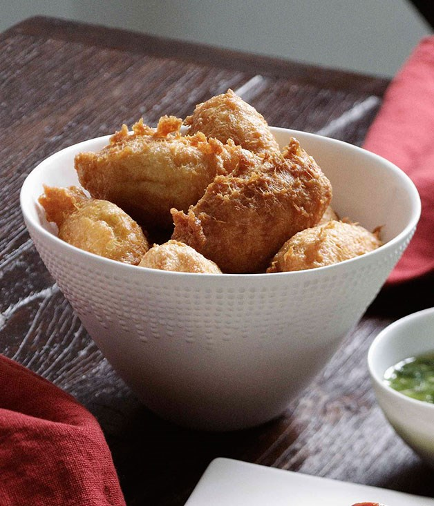 Salt cod puffs with mojo verde