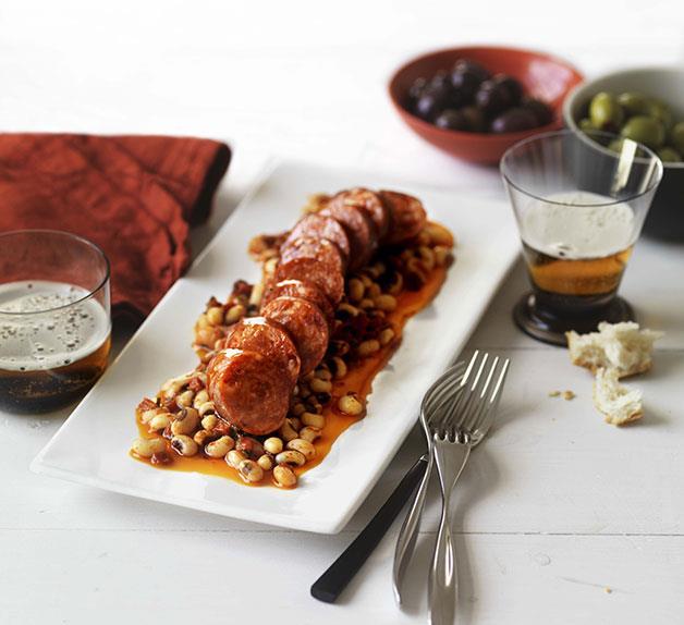 Chorizo with black-eyed beans and chimichurri