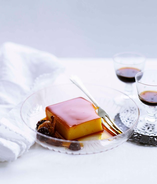 Flan with orange-caramel soaked raisins and wild figs