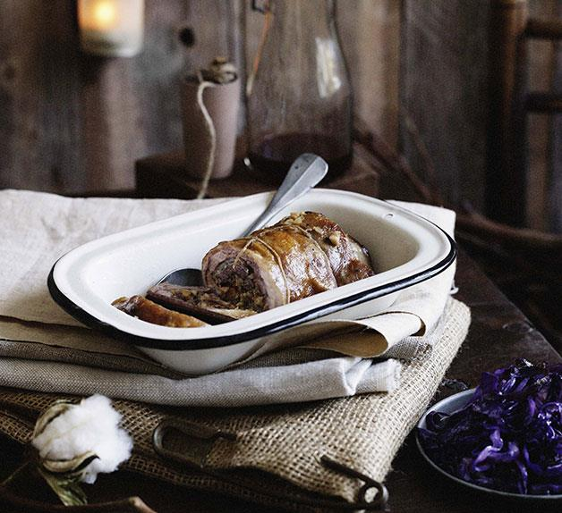 Rolled lamb breast in spiced broth