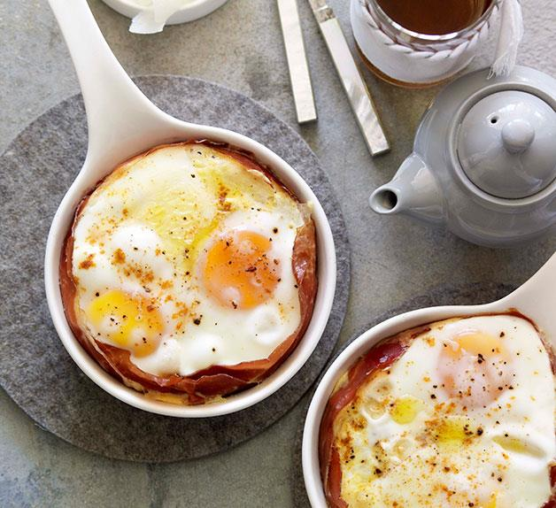 Jamón and Manchego baked eggs