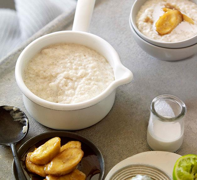 Tapioca porridge with brown sugar bananas