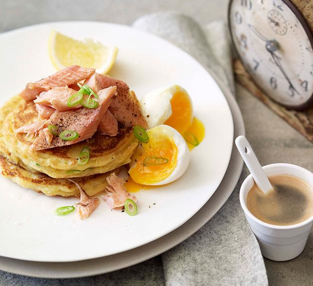 Leek pikelets with smoked rainbow trout and soft-boiled egg