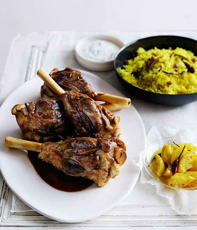 Fragrant lamb shanks with kishmish pilau and lemon and turmeric pickles
