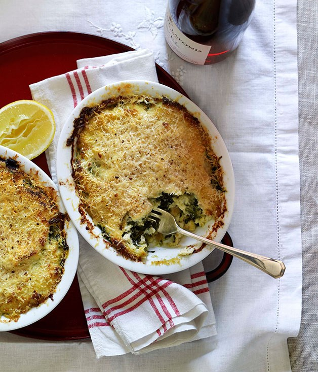 Salt cod and spinach gratin