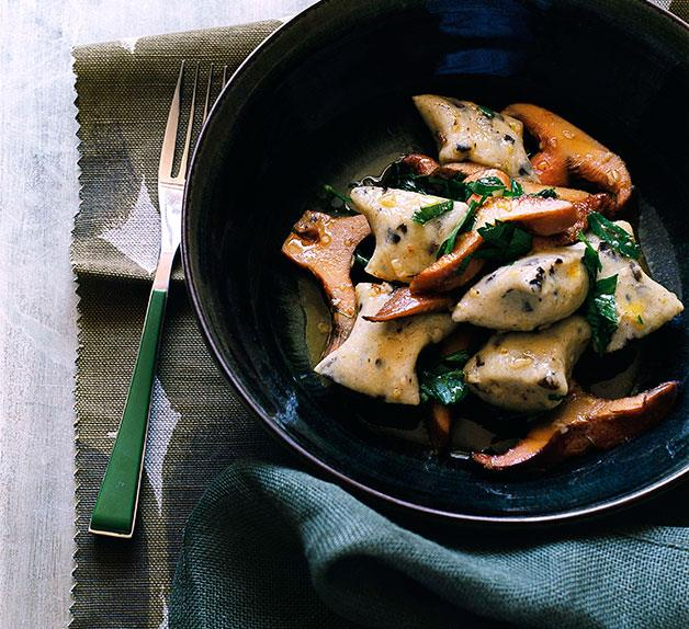 Olive gnocchi with pine mushrooms