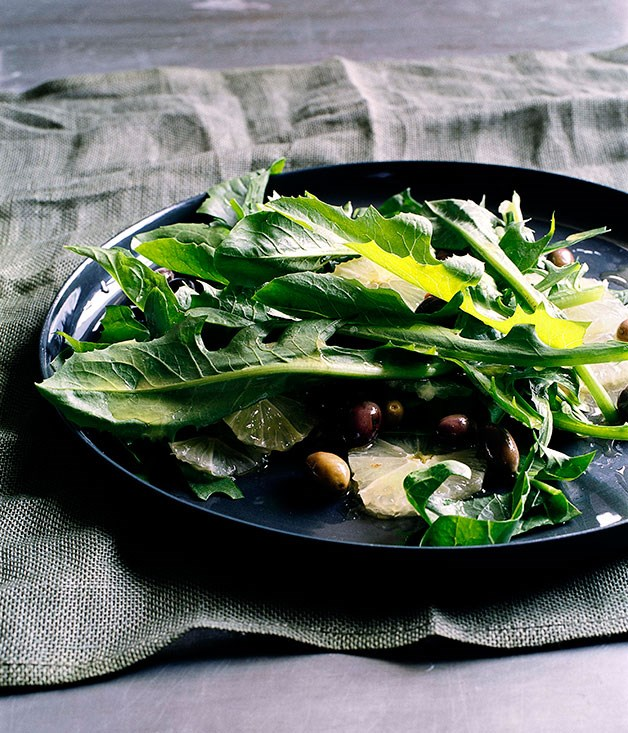 Chicory with lemon and wild olives