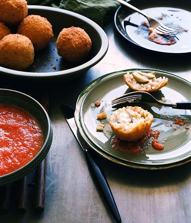 Olive and Taleggio arancini with fresh tomato sauce