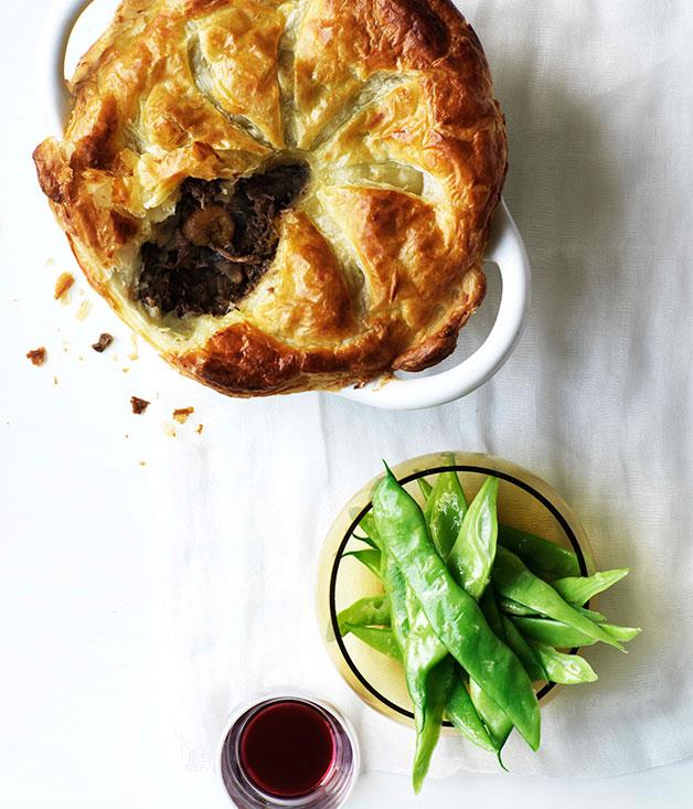 "**[Beef, mushroom and red wine pie](https://www.gourmettraveller.com.au/recipes/browse-all/beef-mushroom-and-red-wine-pie-10163|target=""_blank"")**"