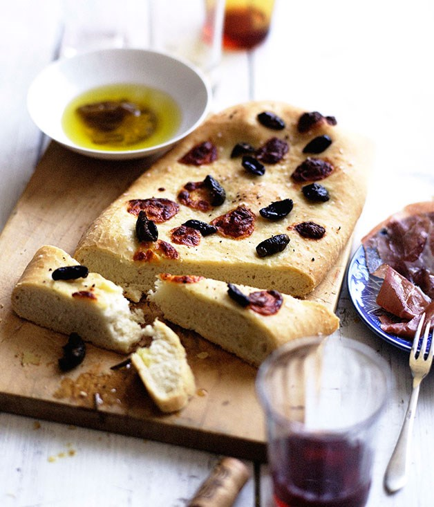 Wild olive and stracchino schiacciata with rosemary oil