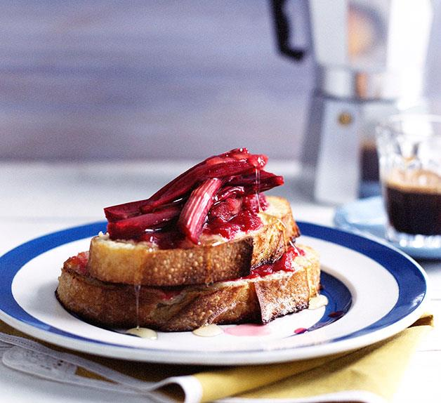 Rhubarb and mascarpone French toast