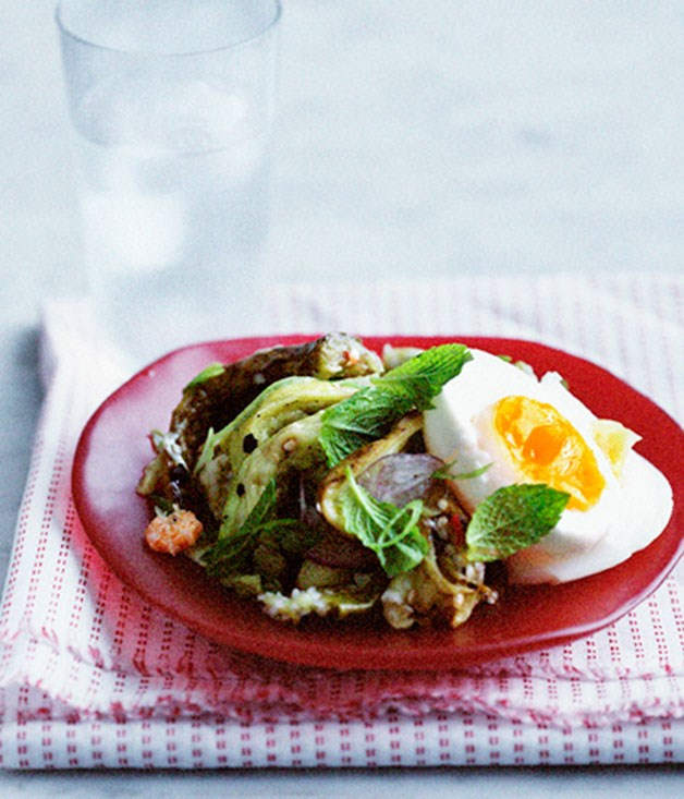 Smoky eggplant salad with mint, red shallot and steamed egg