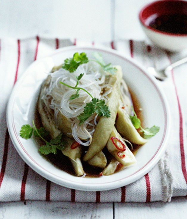 Steamed eggplant and harusame noodles