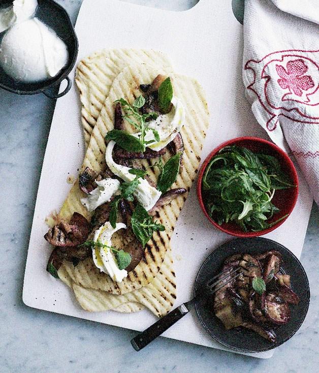 Marinated eggplant, basil and mozzarella piadine