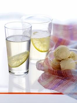 Gin and tonic jellies with elderflower ice-cream