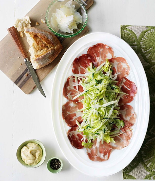 Coppa with celery rémoulade and Pecorino