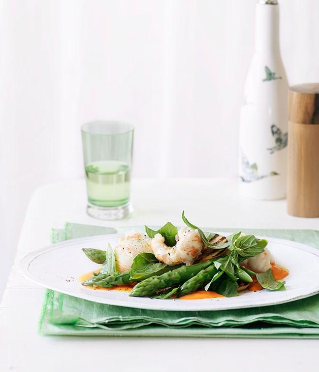 Balmain bug with asparagus and basil