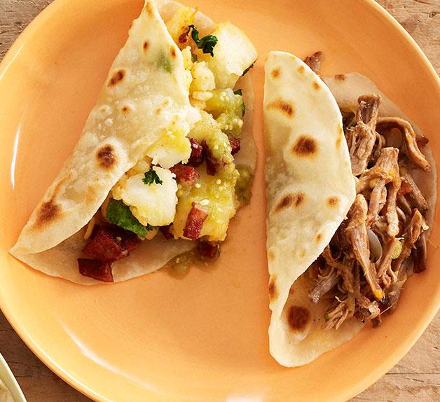 Shredded beef brisket tacos