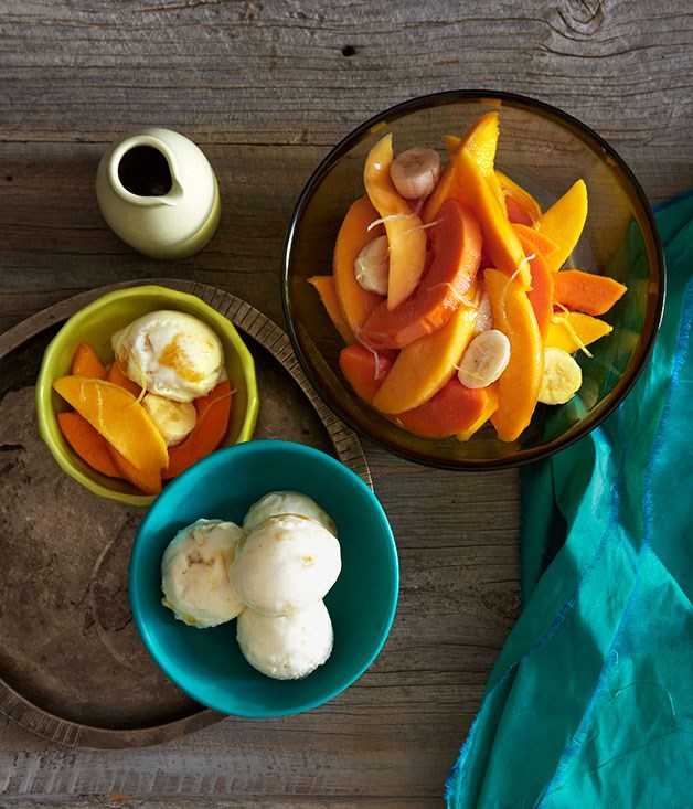 Mango yoghurt sorbet with tropical fruit