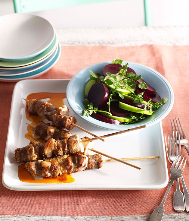 Pork, rabbit and chorizo skewers with paprika oil and beetroot, apple and watercress salad