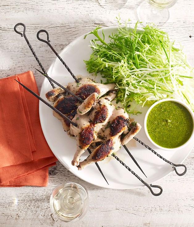 Spatchcocks with salsa verde and frisée