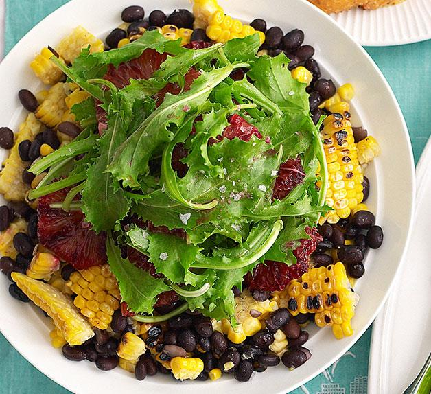 Black bean, corn and blood orange salad